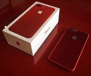iphone, apple, and red image