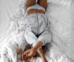 girl, bed, and Calvin Klein image