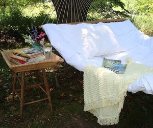 hammock, book, and summer image