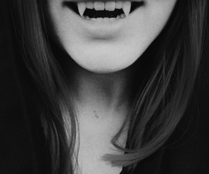 black and white, dark, and fangs image