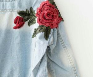 denim, flowers, and rose image