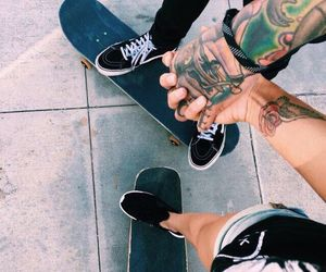 couple, tattoo, and skate image