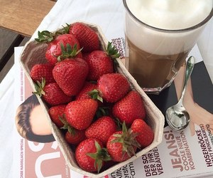 strawberry, food, and coffee image