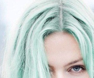 blue eyes, green hair, and girl image