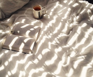book, bed, and tea image