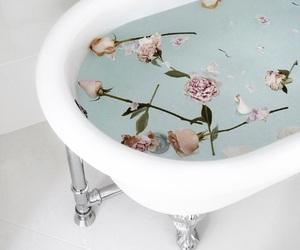 bath, flowers, and girl image