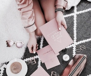 book, coffee, and pink image