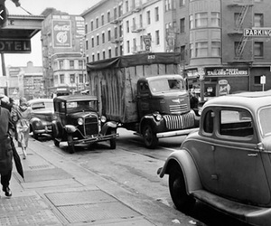 1950, black and white, and cars image