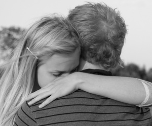 black and white, couple, and embrace image