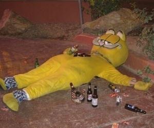drunk, garfield, and grunge image