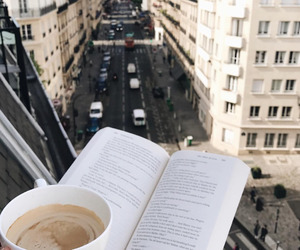 city, book, and coffee image
