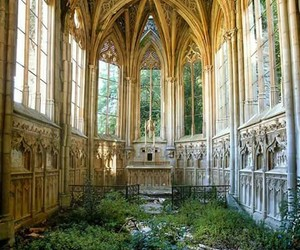 church, nature, and abandoned image