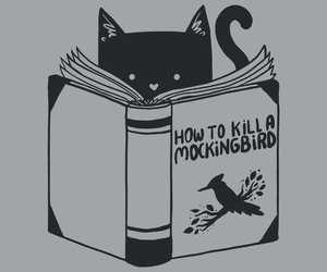 cat, books, and funny image