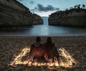 beach, water, and couple image