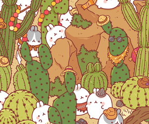 animal, bunny, and cactus image
