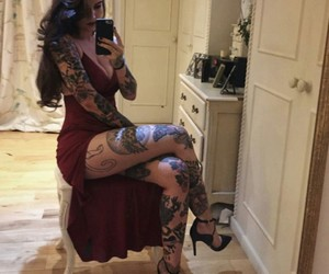dress, tattoo, and red image