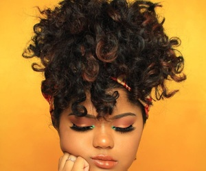 beauty, curls, and makeup image