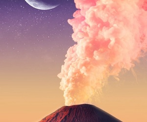 wallpaper, moon, and volcano image