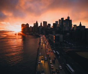 city, sunset, and building image