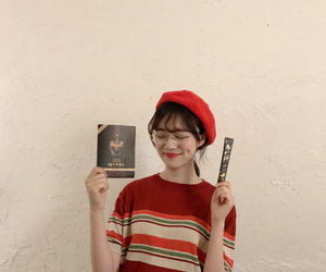 asian, beret, and book image