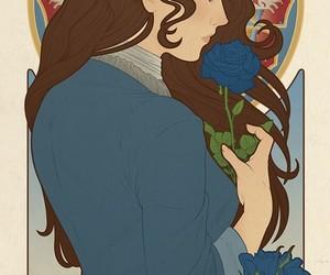 Art Nouveau, blue rose, and house stark image