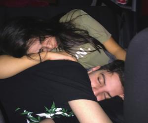 blurry, couple, and dark image
