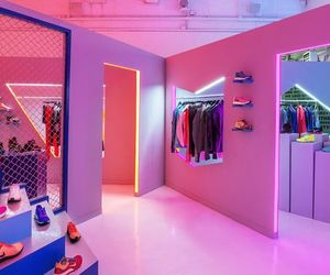 pink, neon, and shop image