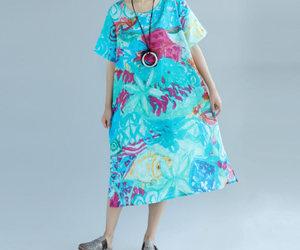 blue dress, linen dress, and long dress image