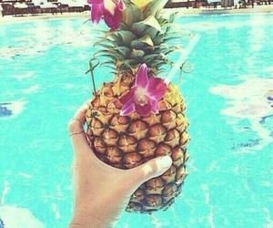 summer, pool, and fruit image