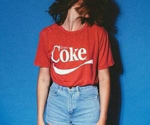red, coke, and blue image