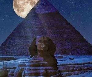 egypt, moon, and pyramid image