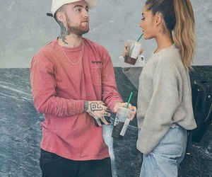 ariana grande, mac miller, and couple image