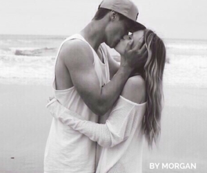 beach, black and white, and relationship goals image