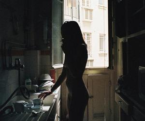 girl, kitchen, and smoking image