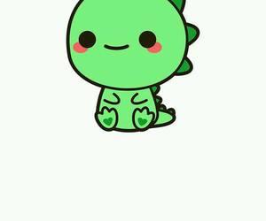 kawaii, dinosaur, and green image