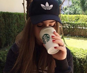 girl, adidas, and starbucks image