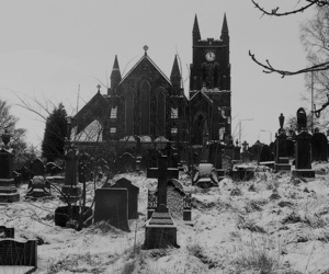 black and white, church, and graveyard image