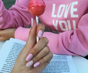 pink, nails, and candy image