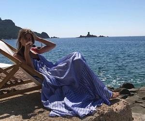 beach, dress, and retro image