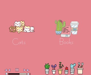 books, cats, and music image