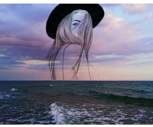 girl, sea, and sky image