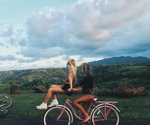 friends, bike, and friendship image