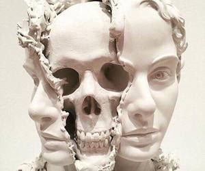 art, sculpture, and skull image