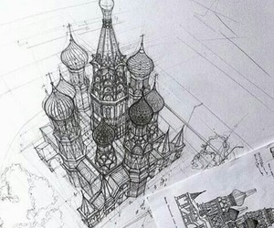 art, drawing, and moscow image