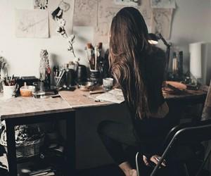 girl, art, and brunette image