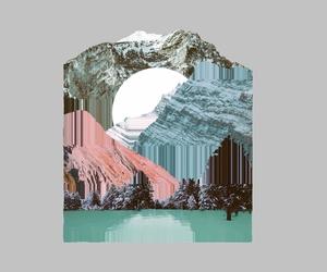 glitch, illustration, and mountain image