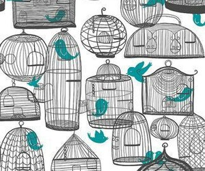 bird, cage, and wallpaper image
