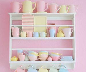 pastel, pink, and kitchen image