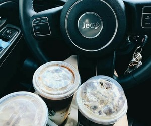 jeep, coffee, and drink image