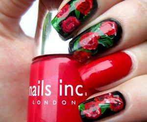 nails, nail art, and roses image